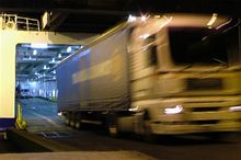 Freight lorry driving off a Brittany Ferries ferry